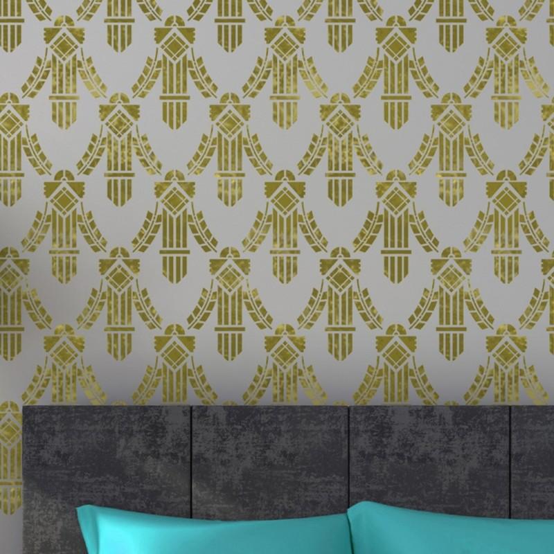 Allover Wall Stencil Doris - for Easy DIY Wall Design - Better Than Wallpaper