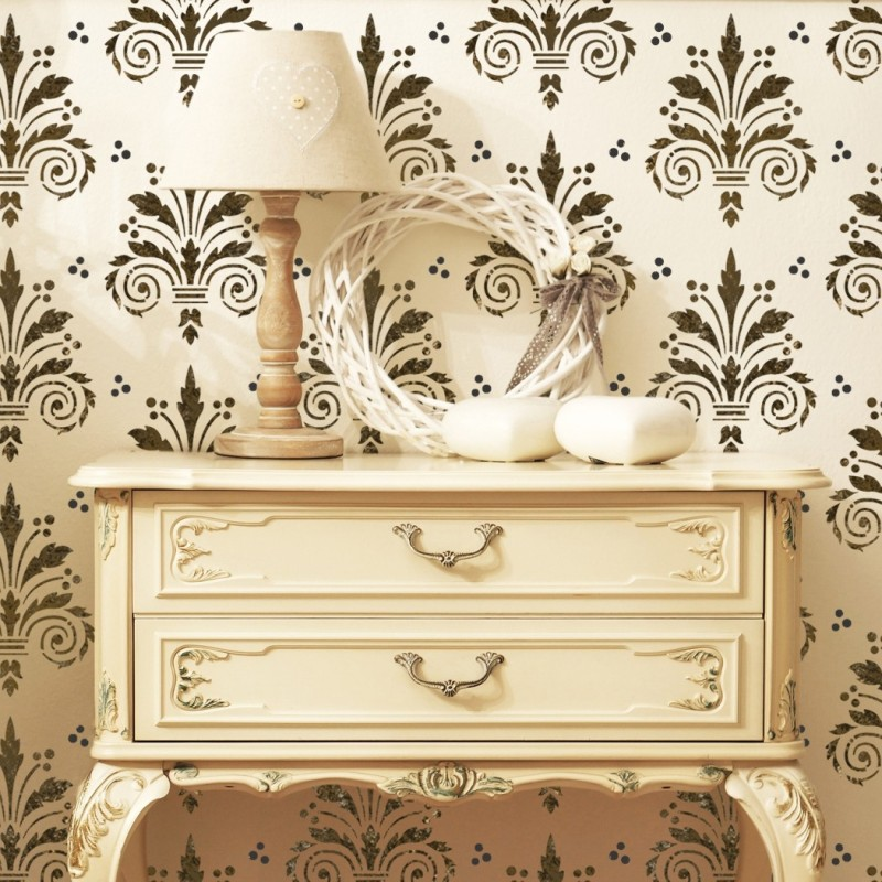 Wall Damask Allover Stencil Terri for Decorative DIY Wall Decor - J ...