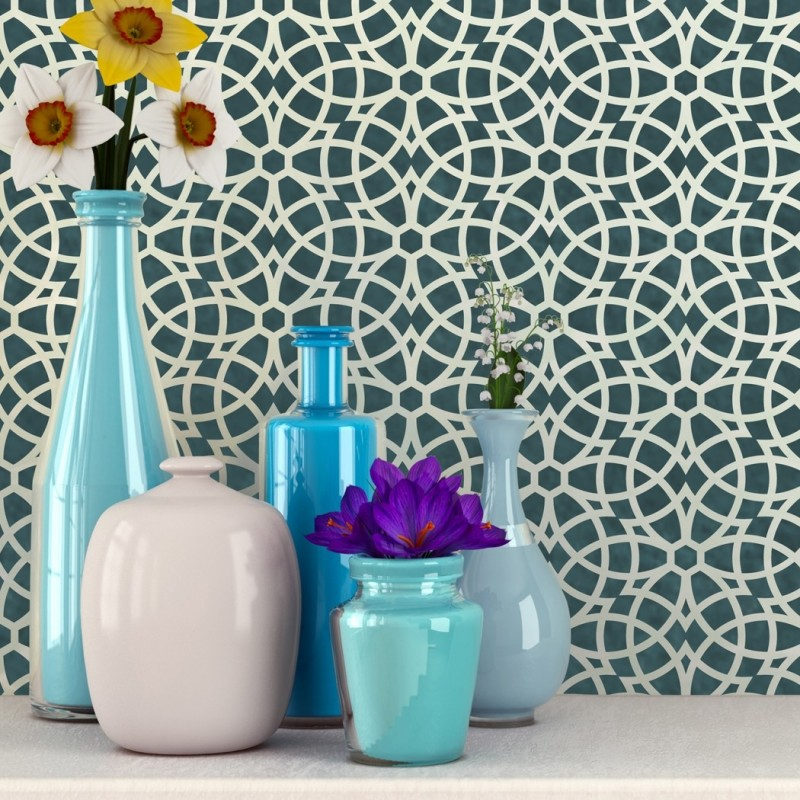 Wall Stencil Geometric Allover Decorative Pattern Bianca for Wall Paninting Room