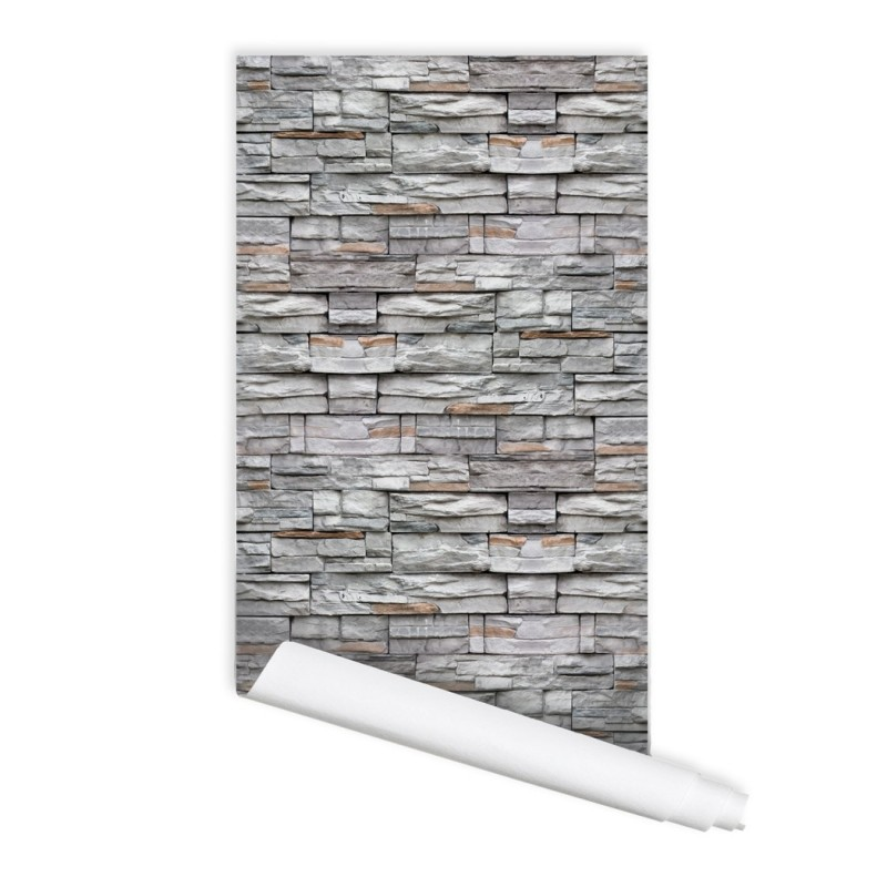 Stone Wall Pattern 01 Peel & Stick Repositionable Fabric Wallpaper