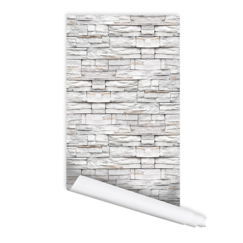 White Stone Wall Pattern 02 Peel & Stick Repositionable Fabric Wallpaper