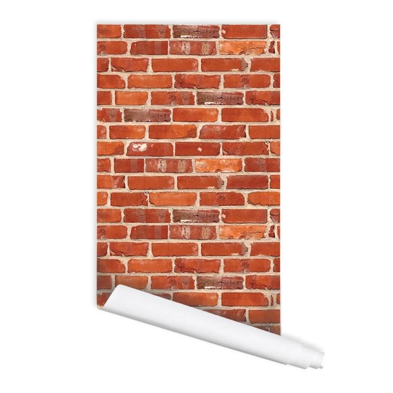 Red Brick Seamless pattern 01 Peel & Stick Repositionable Fabric Wallpaper