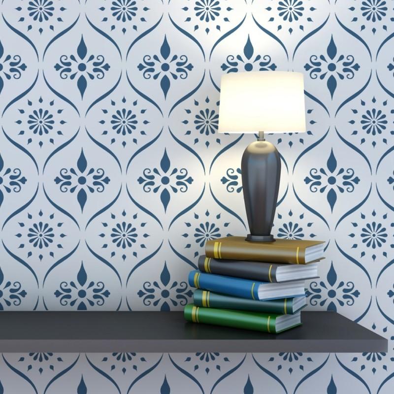 Wall Pattern Trellis Allover Stencil Bailey for Wallpaper Look