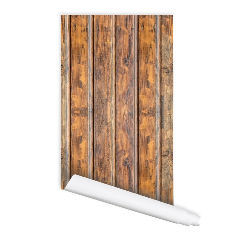 Old Natural Wood Self adhesive Peel & Stick Repositionable Fabric Wallpaper
