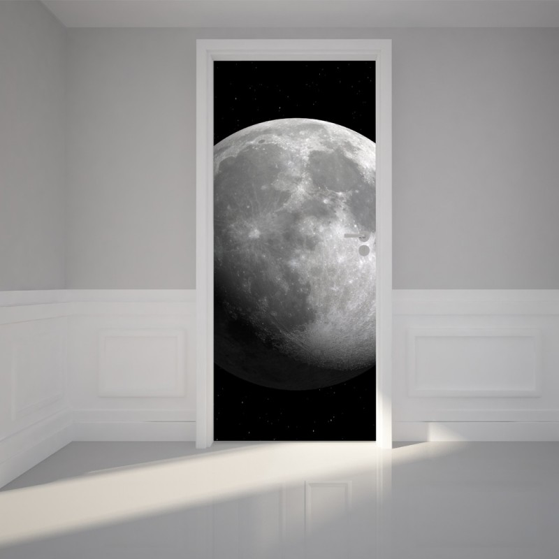 "Door Wall Sticker Luna Full Moon - Self Adhesive Peel & Stick Repositionable Fabric Mural 31""w x 79""h (80 x 200cm)"