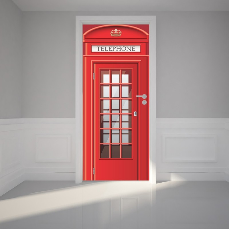 "Door Wall Sticker London Phone Booth - Self Adhesive Peel & Stick Repositionable Fabric Mural 31""w x 79""h (80 x 200cm)"