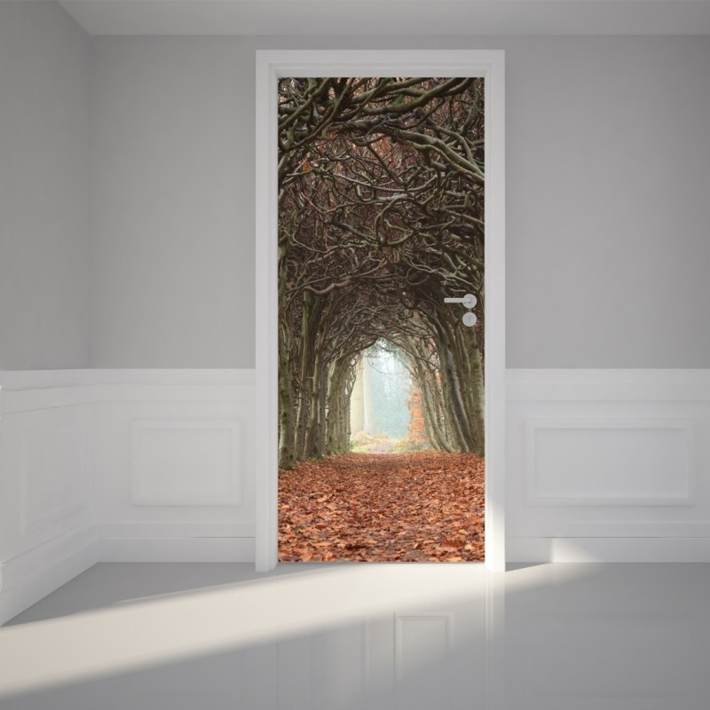 "Door Wall Sticker Tunnel of Trees - Self Adhesive Peel & Stick Repositionable Fabric Mural 31""w x 79""h (80 x 200cm)"