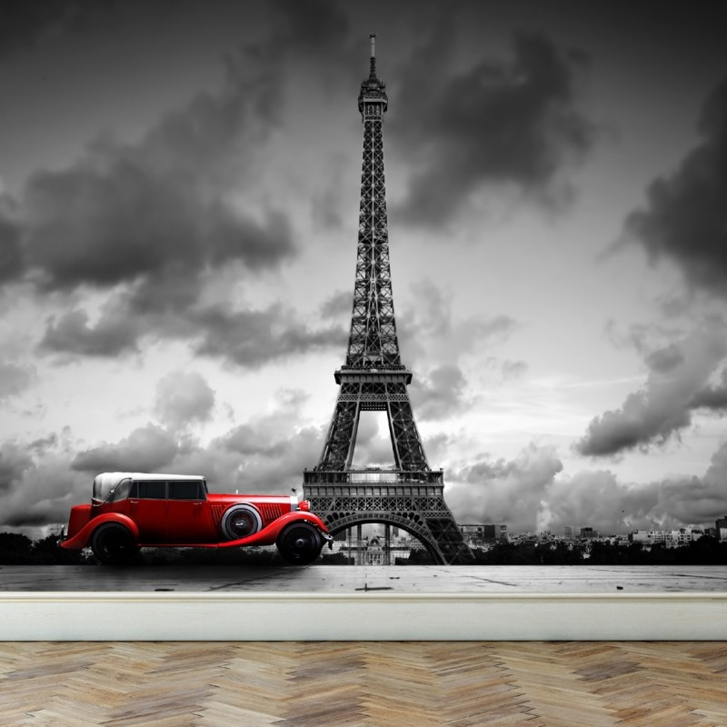 Wall Mural Eiffel Tower in Paris and Retro red car, Peel and Stick Repositionable Fabric Wallpaper for Interior Home Decor