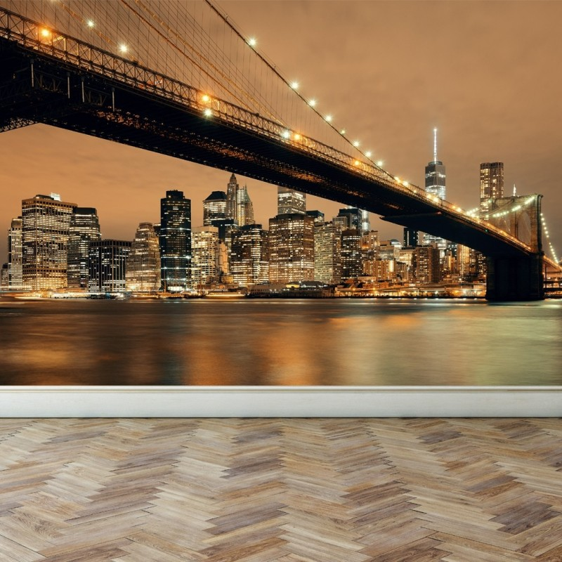 Wall Mural New York Skyline, Peel and Stick Repositionable Fabric ...