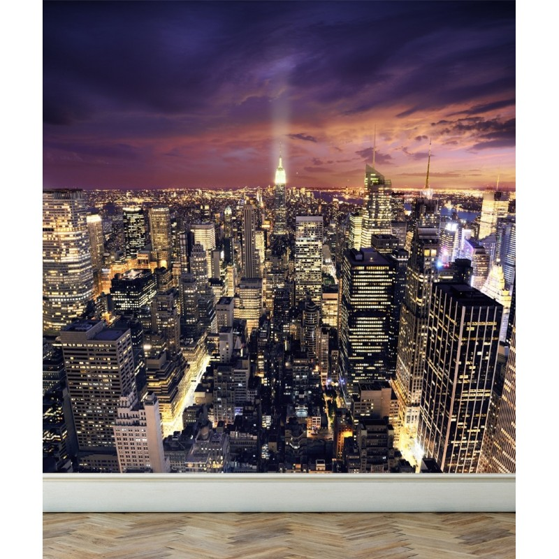 Wall Mural View of New York City, Peel and Stick Repositionable Fabric Wallpaper for Interior Home Decor