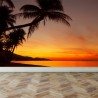 Wall Mural Tropical sunset beach with palm tree, Peel and Stick Repositionable Fabric Wallpaper for Interior Home Decor