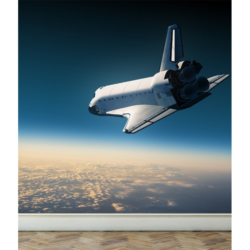 Wall Mural Space Shuttle make a landing, Peel and Stick Repositionable Fabric Wallpaper for Interior Home Decor