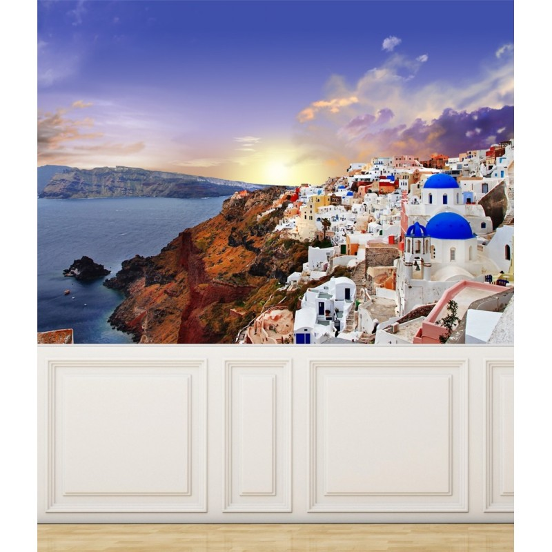Wall Mural View of Santorini Island, Peel and Stick Repositionable Fabric Wallpaper for Interior Home Decor