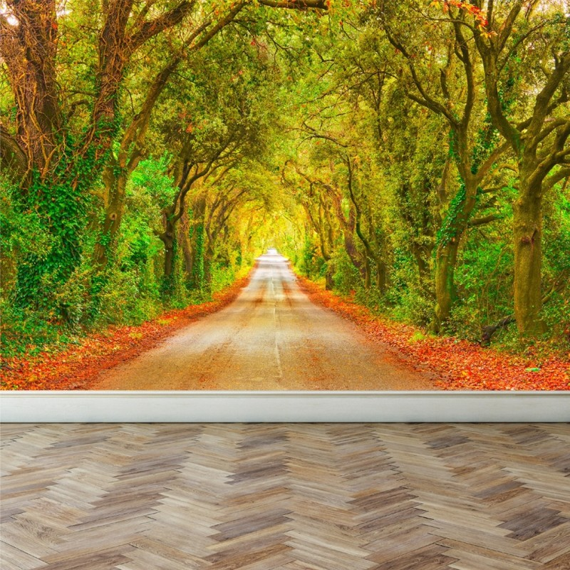 Wall Mural Straight road with trees, Peel and Stick Repositionable ...