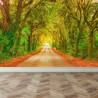 Wall Mural Straight road with trees, Peel and Stick Repositionable Fabric Wallpaper for Interior Home Decor