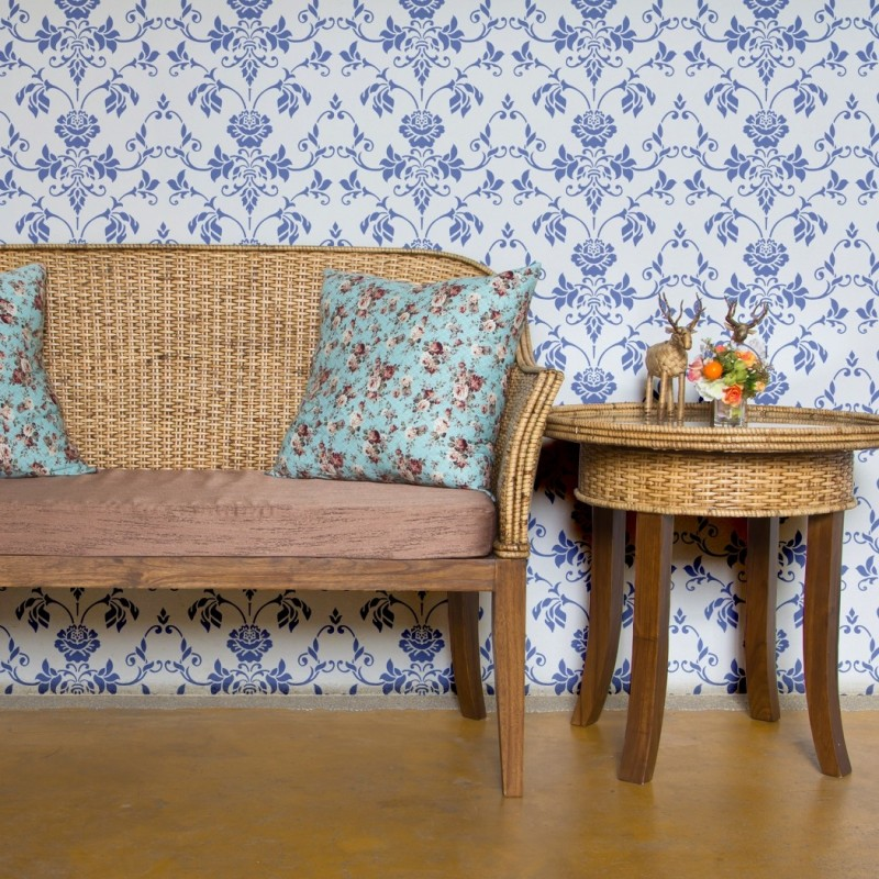 Wall Stencil Floral Allover Stencil Chavi for Elegant DIY Wall Decor