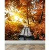Wall Mural Autumn and small bridge, Peel and Stick Repositionable Fabric Wallpaper for Interior Home Decor