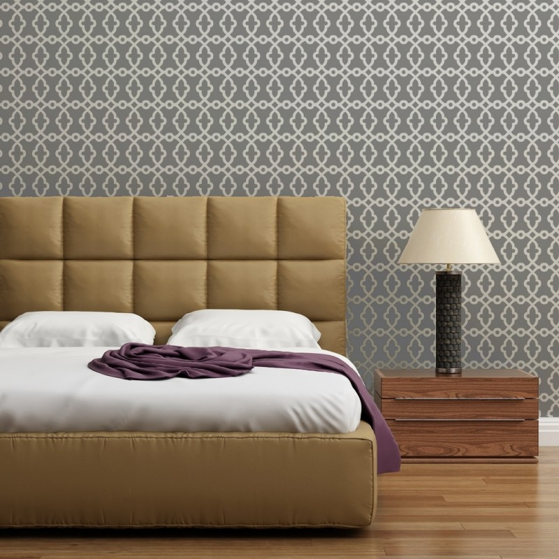 Geometric Stencils Pluto, Large Pattern for DIY Decor Wallpaer Look