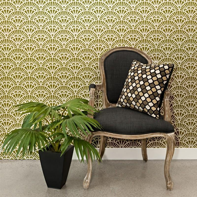 Scallop Wall Stencil Rollo, Allover Reusable Stencils for Wallpaper Look