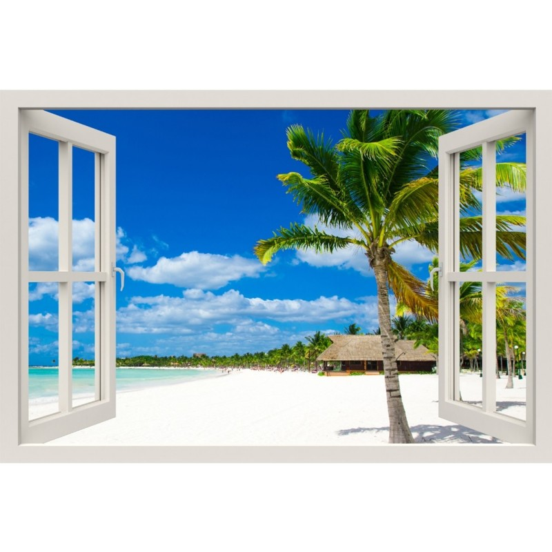 Window Frame Mural Tropical Beach - Huge size - Peel and Stick Fabric Illusion 3D Wall Decal Photo Sticker