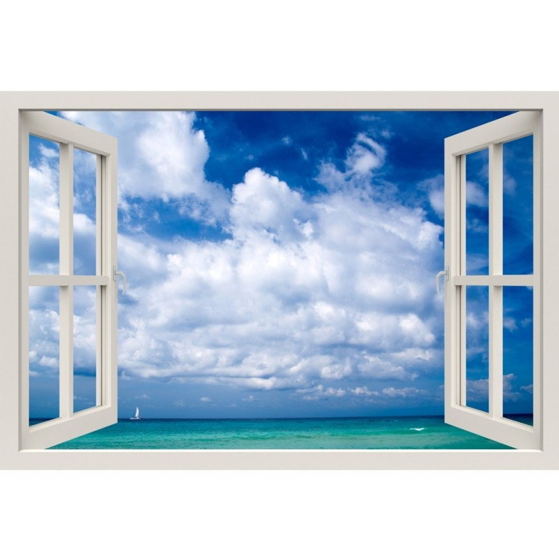 Window Frame Mural Beautiful Sea - Huge size - Peel and Stick Fabric Illusion 3D Wall Decal Photo Sticker