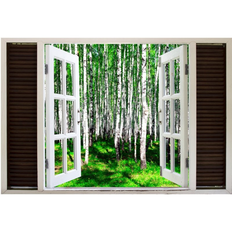 Window Frame Mural Summer Birch Forest - Huge size - Peel and Stick Fabric Illusion 3D Wall Decal Photo Sticker