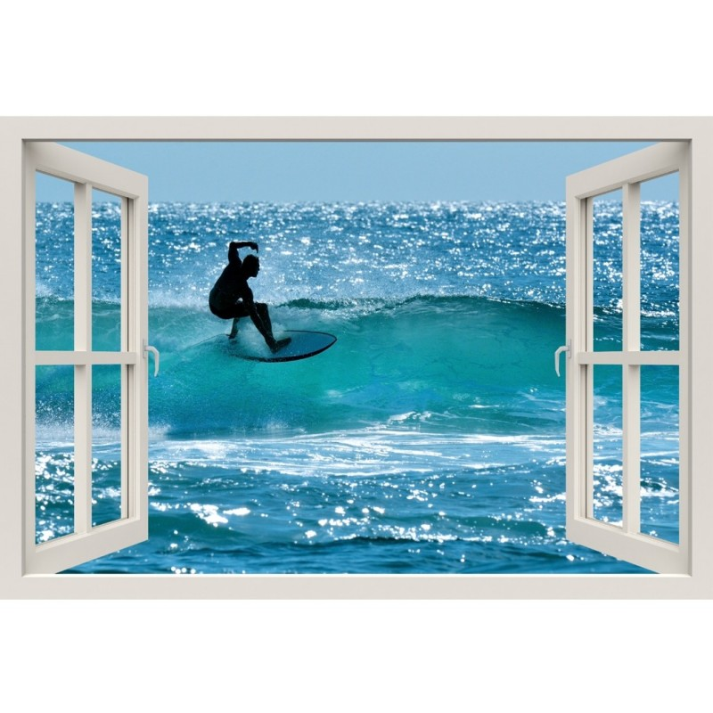 Window Frame Mural Surfers - Huge size - Peel and Stick Fabric Illusion 3D Wall Decal Photo Sticker