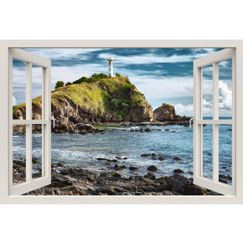 Window Frame Mural Lighthouse on a Cliff - Huge size - Peel and Stick Fabric Illusion 3D Wall Decal Photo Sticker
