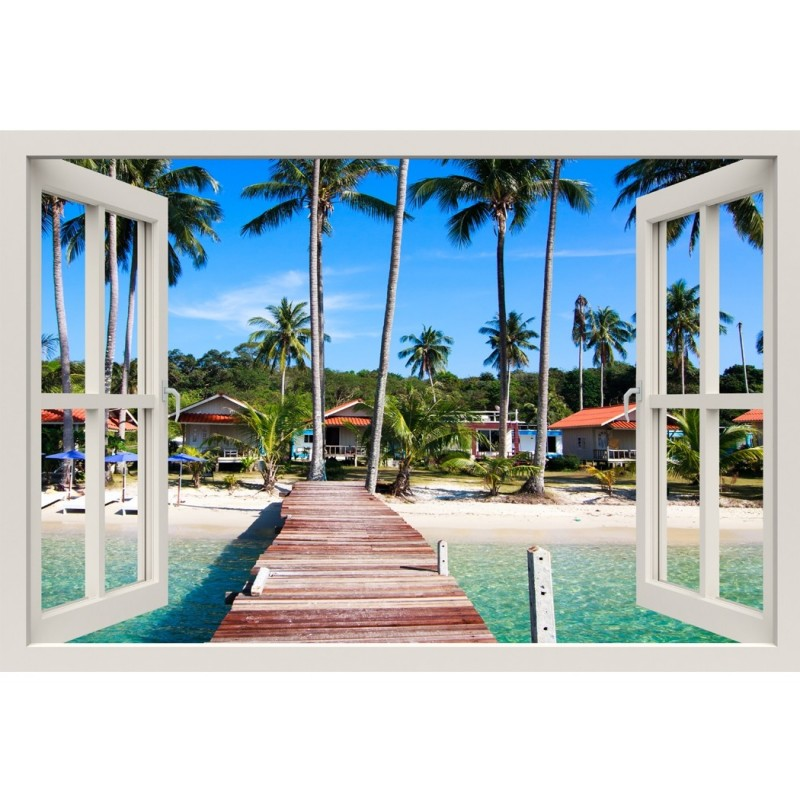 Window Frame Mural Boardwalk on the Tropical beach - Huge size - Peel and Stick Fabric Illusion 3D Wall Decal Photo Sticker