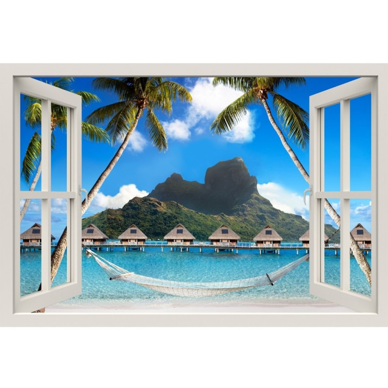 Window Frame Mural Palm Beach with Hammock - Huge size - Peel and Stick Fabric Illusion 3D Wall Decal Photo Sticker