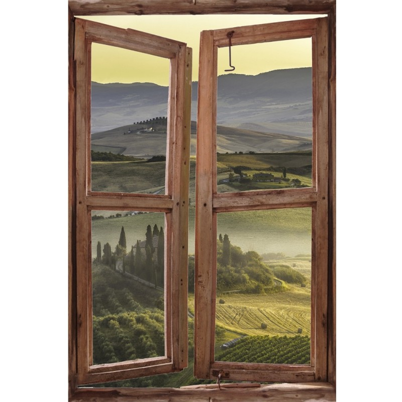 Window Wall Mural Beautiful view of the misty valley, Peel and Stick Fabric Illusion 3D Wall Decal Photo Sticker