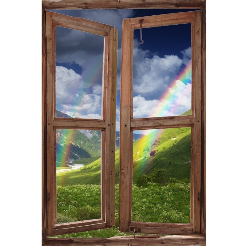 Window Wall Mural Rainbow in the Mountains, Peel and Stick Fabric Illusion 3D Wall Decal Photo Sticker