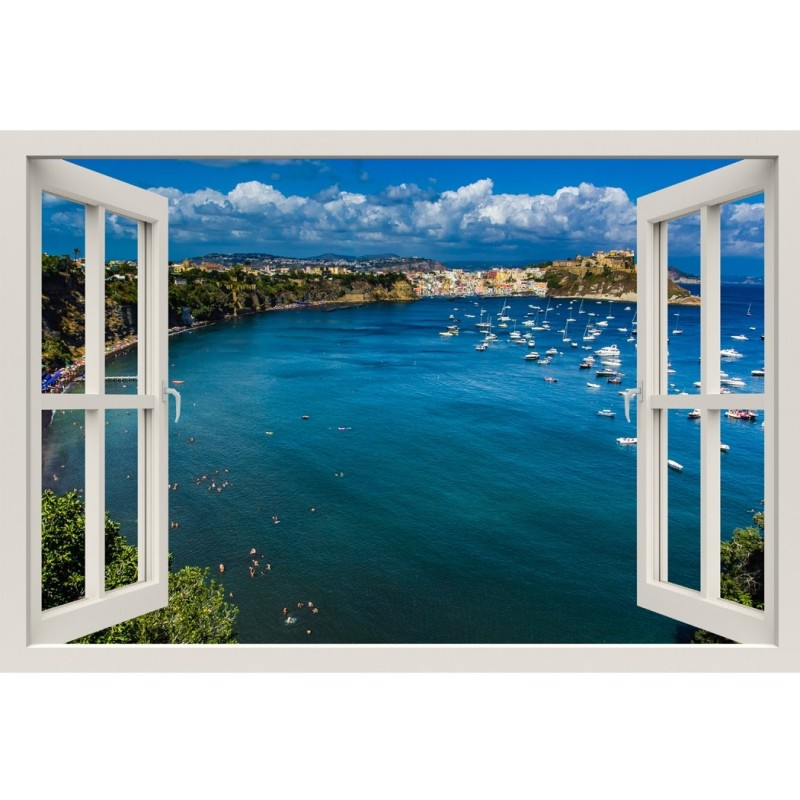 Window Frame Mural Beautiful Island - Huge size - Peel and Stick Fabric Illusion 3D Wall Decal Photo Sticker