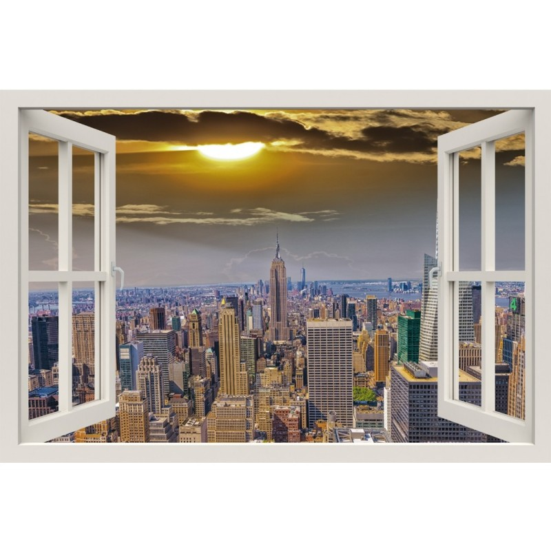 Window Frame Mural View of New York City at nightfall - Huge size - Peel and Stick Fabric Illusion 3D Wall Decal Photo Sticker