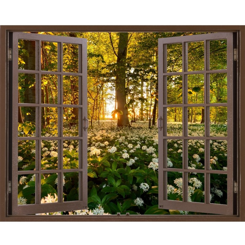 Window Frame Mural Wild Garlic Forest   Huge Size   Peel And Stick Fabric  Illusion 3D Wall Decal Photo Sticker