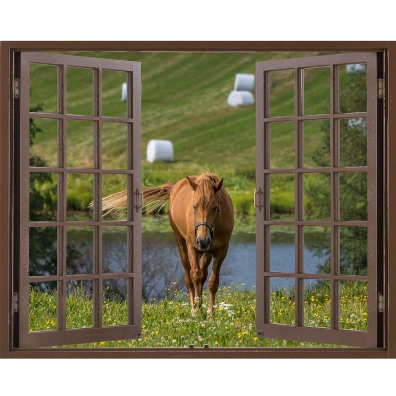 window frame mural walking in silence the horse - huge size - peel