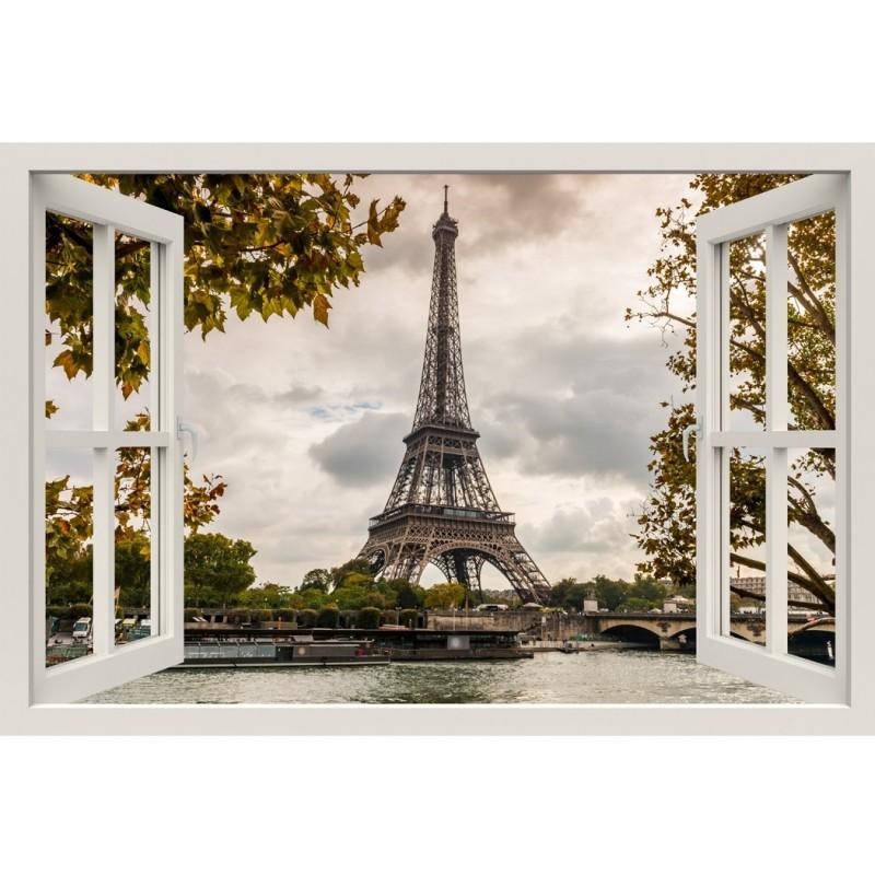 Window Frame Mural Eiffel Tower Seine Huge Size Peel And Stick