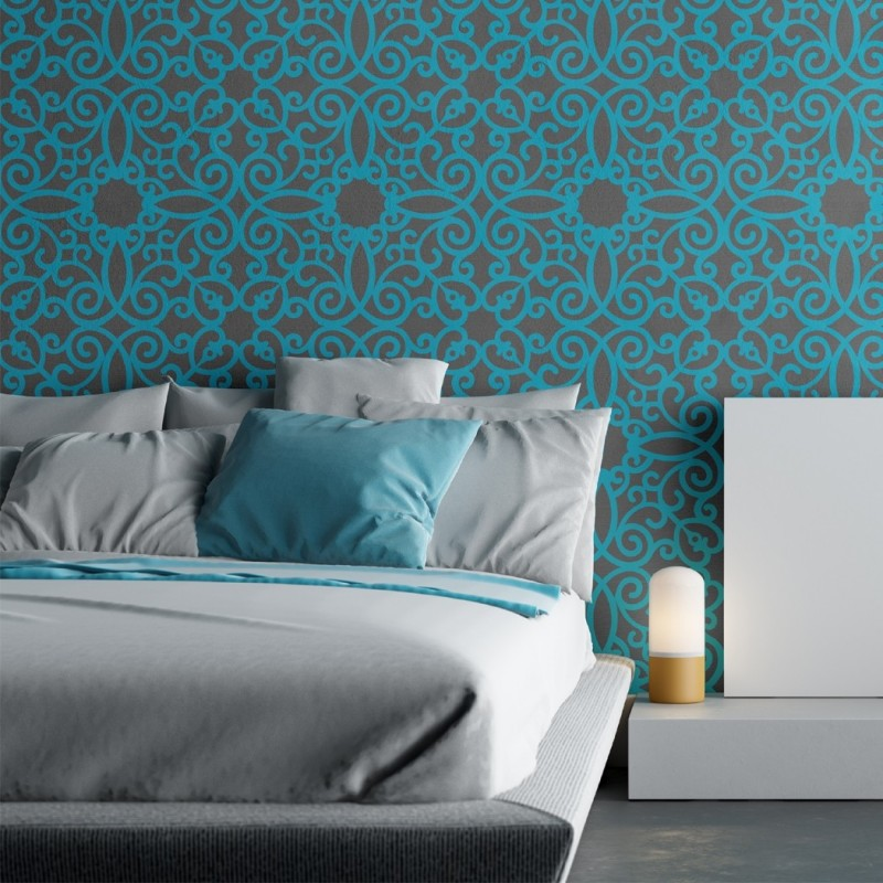 Bedroom Stencil Ideas. Wall Stencil Pattern Kalaat  Allover for Modern Painting Decor