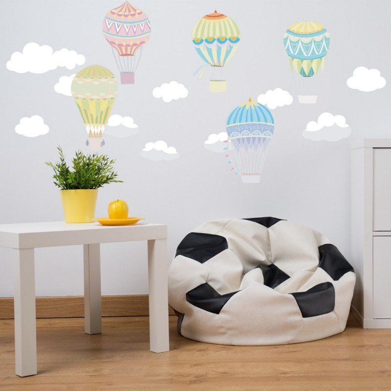 Hot air balloon Fabric Wall Decal, Peel and Stick Removable and Repositionable Stickers