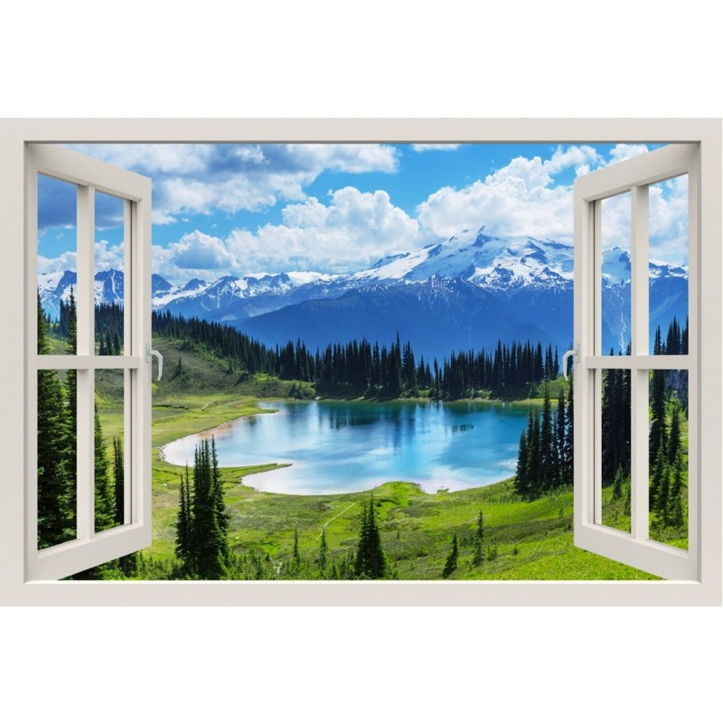 Window Frame Mural Cool Water Of The Lake