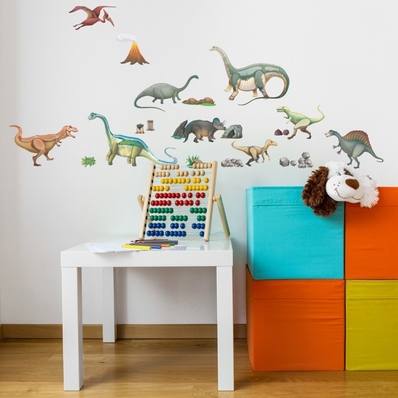 Dinosaurs Wall Sticker Fabric Wall Decal, Peel and Stick Removable and Repositionable Stickers for kids playroom