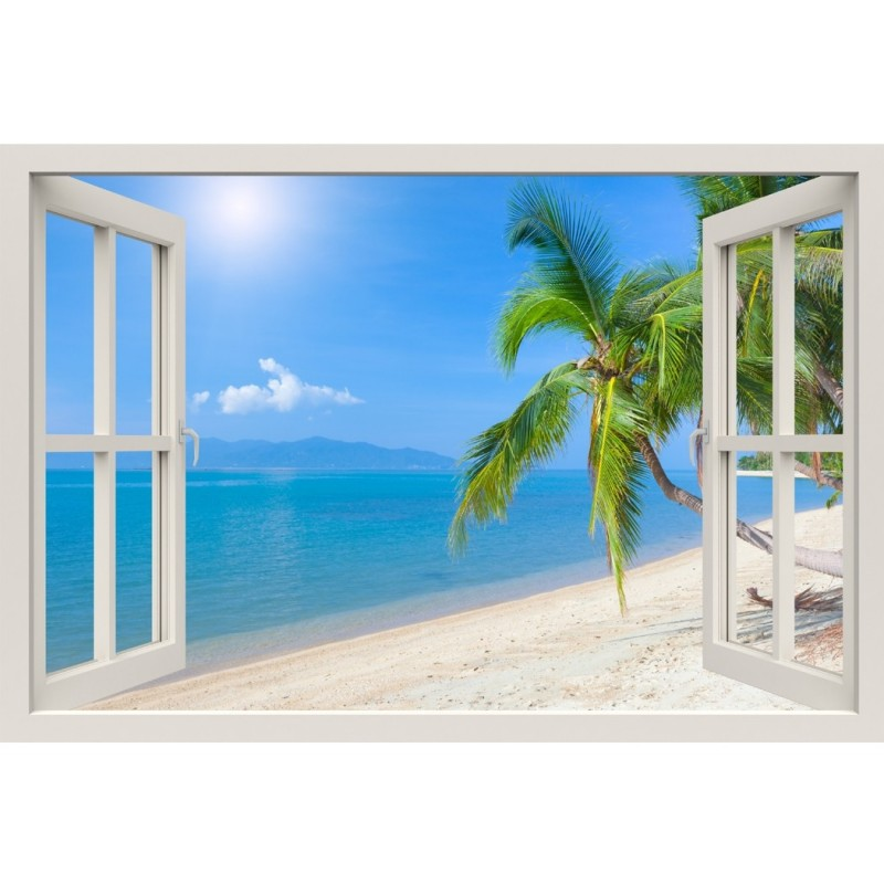 Window Frame Mural Tropical beach with coconut palm Huge size