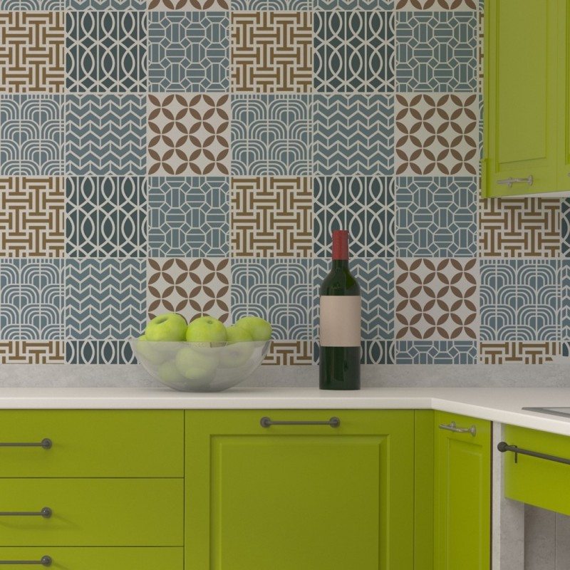 Geometric Tile Stencil Set For Wall Decor Kitchen Backsplash Decorating