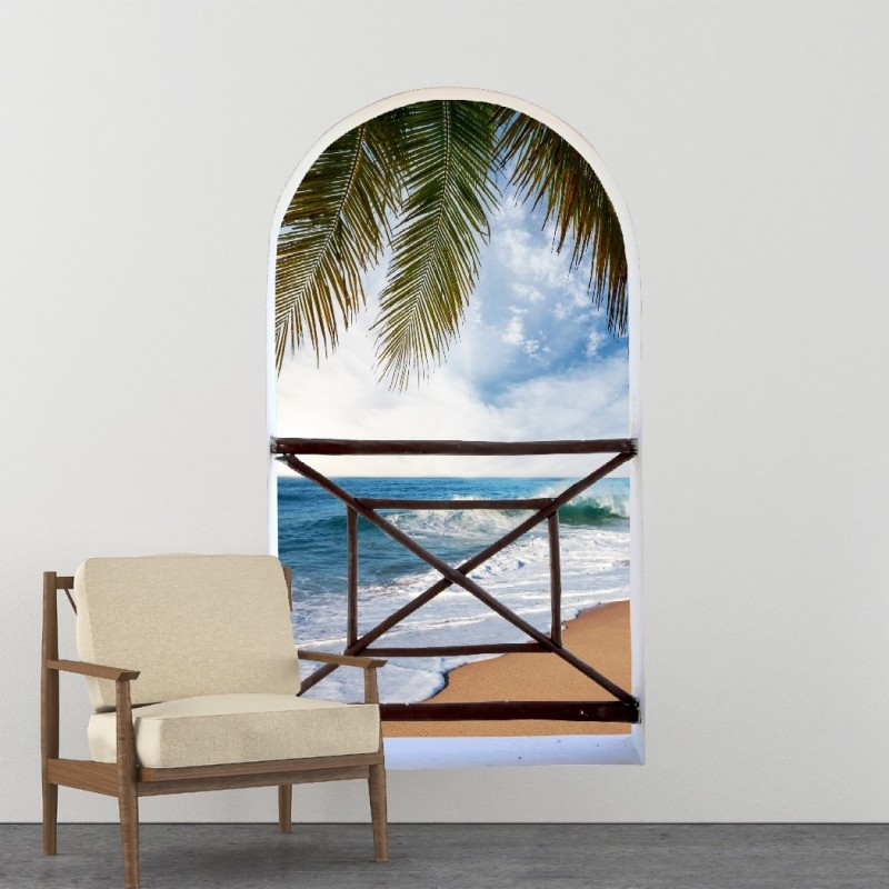 Arch balcony 3D Wall Mural Huge size - Tropical seas - Removable Peel and stick Fabric Decal