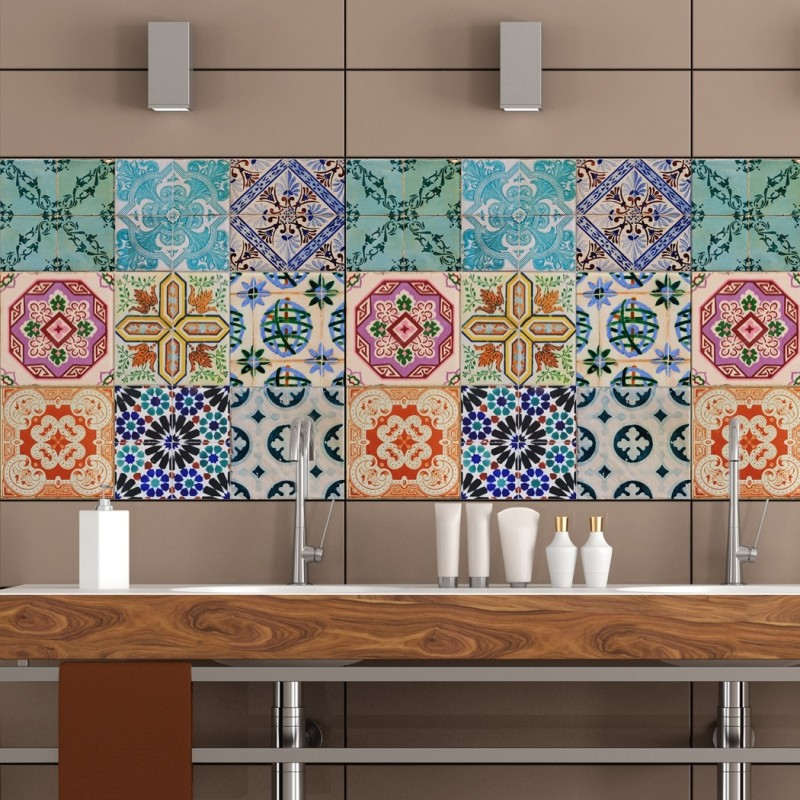 Portuguese Tiles Stickers Maceira - Pack of 16 tiles - Tile Decals Art for Walls Kitchen backsplash Bathroom