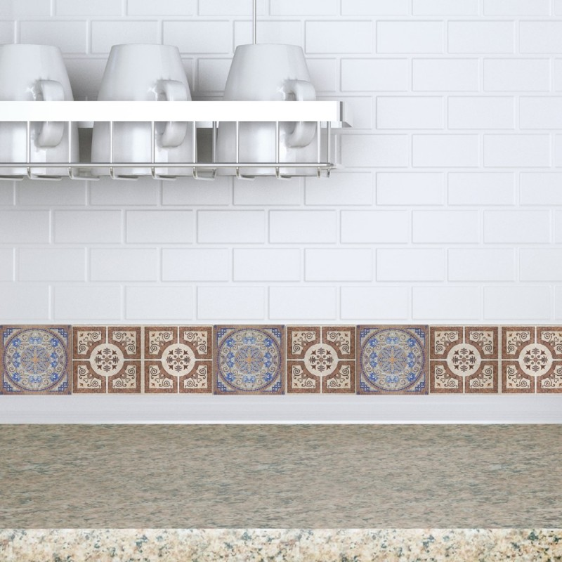 Decorative tiles stickers lisboa pack of 16 tiles tile for Fancy bathroom wall tiles