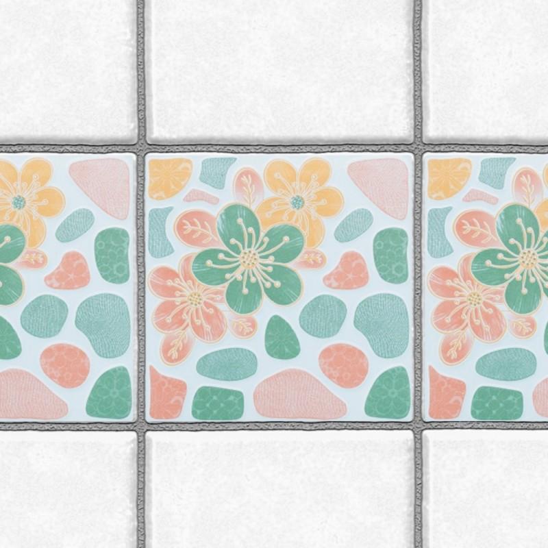 Decorative Tiles Stickers Flower Design - Pack of 16 tiles - Tile Decals Art for Walls Kitchen backsplash Bathroom