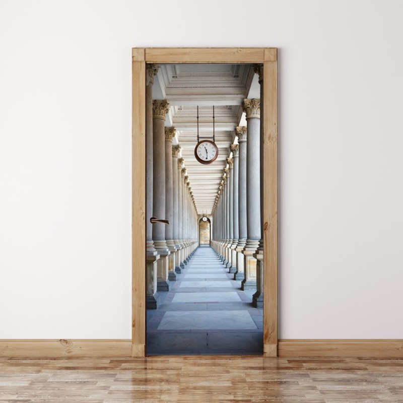 Door Mural Passage surrounded by a colonnade - Self Adhesive Fabric Door Wrap Wall Sticker & Door Mural Passage surrounded by a colonnade - Self Adhesive Fabric ...