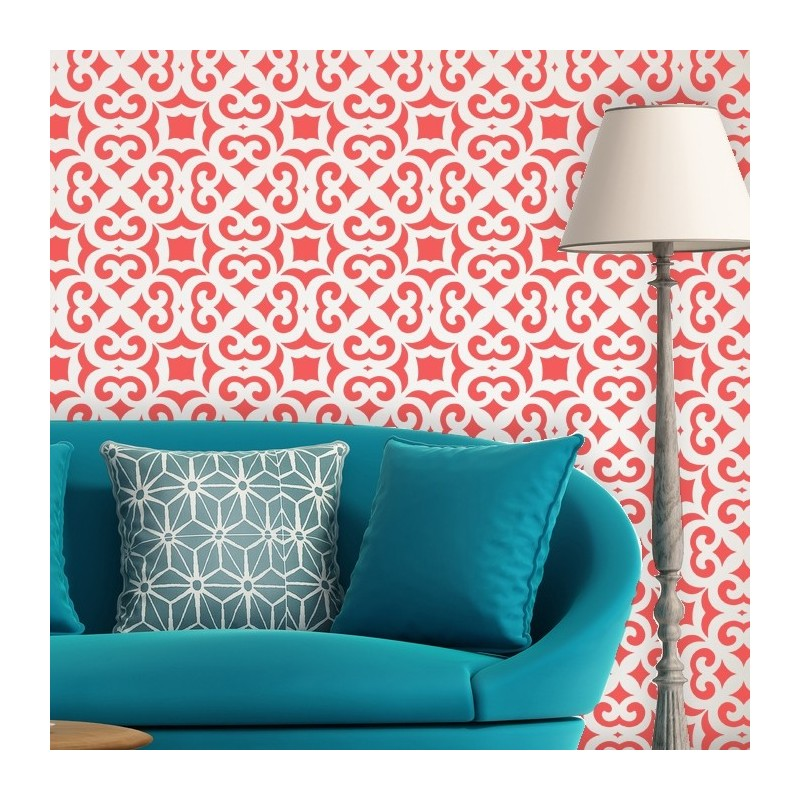 Moroccan Trellis Allover Wall Stencil Liliane for DIY Modern Wall ...