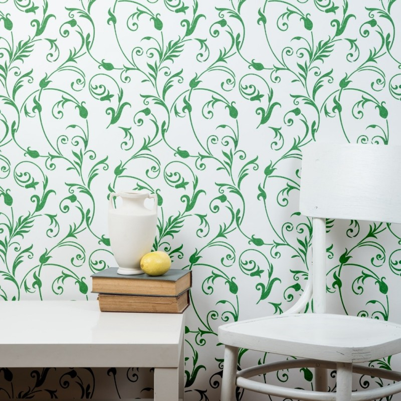 Large Floral Wall Stencil - DIY Wall decor stenciling Idea